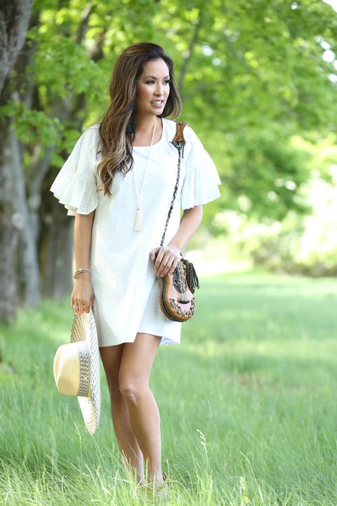 White-Maison-Labiche-dress-tiffany-pearl-necklace-guitar-purse-salmagundi-hat-3:4-view_1314