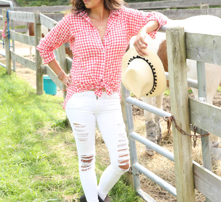 red-plaid-shirt-white-denim-gray-booties-A-necklace-IMG_7401
